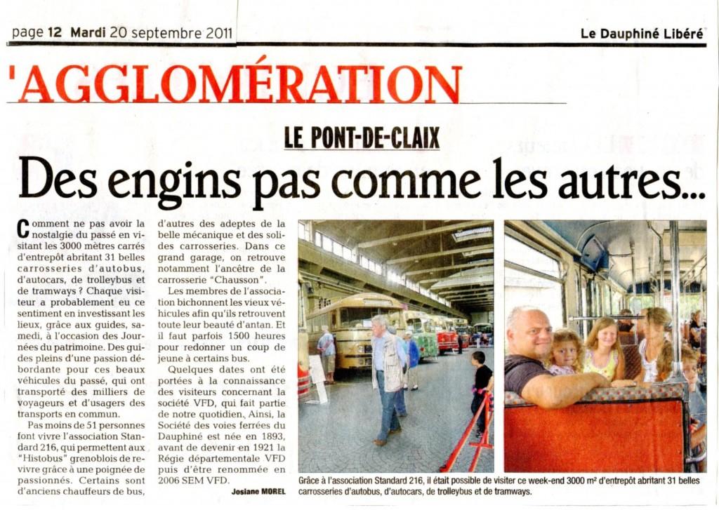 Dauphiné Libéré, 20 septembre 2011