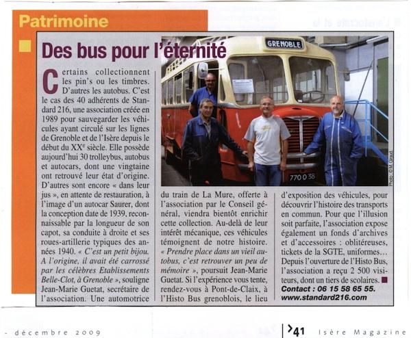 Isère Magazine, décembre 2009
