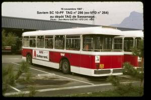 SC 10-PF n° 286 au dépôt de Sassenage, en 1987