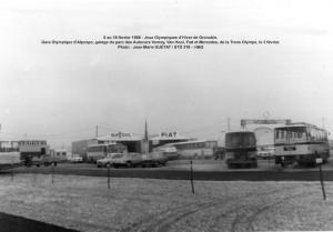 Trans Olympe aux JO de Grenoble = Gare d'Alpexpo, garages poids-lourds