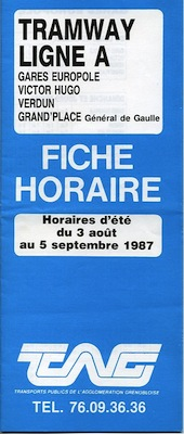 fiche horaire de la ligne A du 3 août 1987