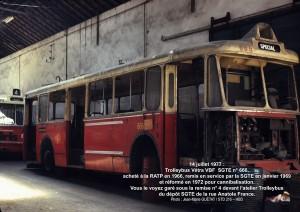 le même trolleybus, au même endroit, le 14 juillet 1977