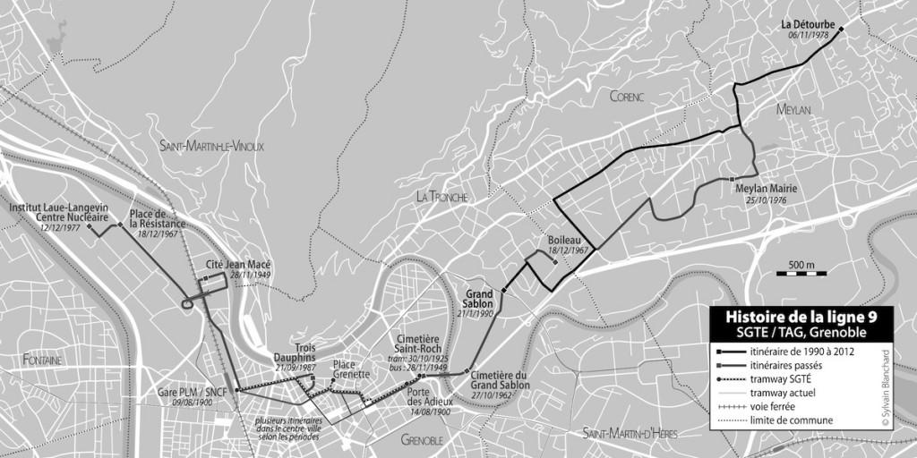 évolutions de la ligne 9 de 1900 à 2012